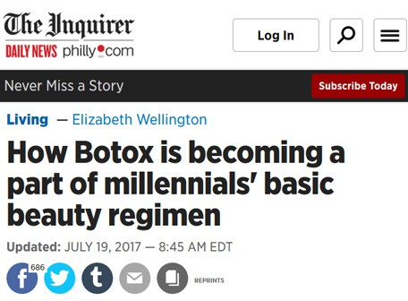 How Botox is becoming a part of millennials' basic beauty regimen - philly.com